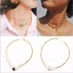New ultra violet Gold double chain choker necklace